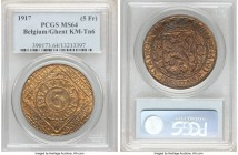Ghent. German Occupation 5 Franken 1917 MS64 PCGS, Ghent mint, KM-Tn6. Struck in brass-plated iron. A softly toned selection preserving a clear lustro...