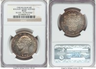 Leopold III silver Proof Restrike 50 Francs 1940 PR67 NGC, Bogaert-2656B1. Plain edge. Lightly toned over in iridescent hues to provide a truly singul...