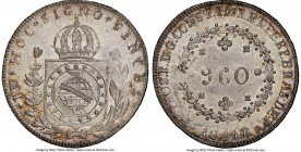 Pedro I 960 Reis 1824-R MS64 NGC, Rio de Janeiro mint, KM368.1. Satiny and well-preserved, with just a hint of tone contrasting against the velveteen ...