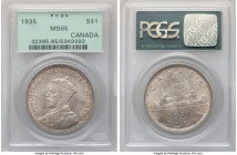 George V Dollar 1935 MS65 PCGS, Royal Canadian mint, KM30. A usually quite plentiful date that seldom comes with better overall visual allure.   HID09...
