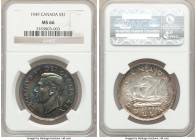 George VI Dollar 1949 MS66 NGC, Royal Canadian mint, KM47. An appealing gem showcasing a charming spread of obverse pastel coloration.   HID0980124201...
