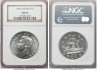 George VI Dollar 1949 MS66 NGC, Royal Canadian mint, KM47. Fully brilliant, speckled flowlines visible across the lustrous surfaces.  HID09801242017  ...