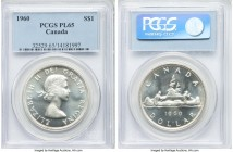 Elizabeth II Prooflike Dollar 1960 PL65 PCGS, Royal Canadian mint, KM54. Supremely reflective and absent any handling save for the faintest friction. ...