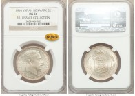 Christian X 2 Kroner 1916 (h)-VBP MS66 NGC, Copenhagen mint, KM820. Graced with a delicate silvery patina, well-struck, and exhibiting attractive shim...