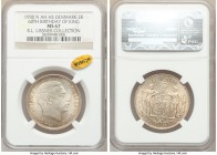 Christian X 2 Kroner 1930 (h)-N MS67 NGC, Copenhagen mint, KM829. Struck for the King's 60th birthday. Exceptional and brilliant - the single-finest e...
