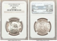 Lippe-Detmold. Leopold IV 3 Mark 1913-A MS66 NGC, Berlin mint, KM275, J-79. A laudable gem, radiant and exhibiting a full cartwheel effect against lig...