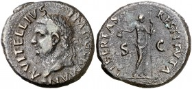 (69 d.C.). Vitelio. Tarraco. As. (Spink 2218) (Co. 49) (RIC. 43). 12,63 g. Puntos de óxido en reverso. MBC+.