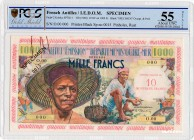 French Antilles [#2, XF+] 10 NF/1000 francs Pêcheur Type 1955