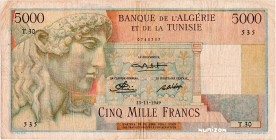 Tunisia [#27, F+] 5000 francs Apollon Type 1946 modifié