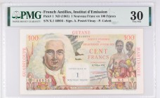 French Antilles [#1, VF+] 1 NF/100 francs La Bourdonnais Type 1960