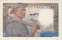 France [#99, XF+] 10 francs Type 1941 Mineur