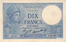 France [#73, VF+] 10 francs Type 1915 Minerve