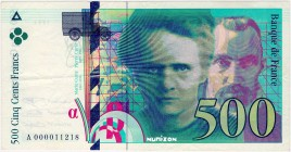 France [#160, VF] 500 francs Type 1993 Pierre et Marie Curie