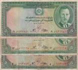 Afghanistan, 5 Afghanis, 1939, p22, (Total 3 banknotes)