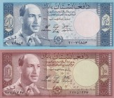 Afghanistan, 10-20 Afghanis, 1961, UNC, p37; p38, (Total 2 banknotes)
