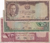 Afghanistan, 2-5-10 Afghanis, 1939, p21; p22; p23, (Total 3 banknotes)