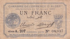 Algeria, 1 Francs, 1920, VF,