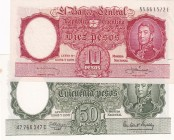 Argentina, 10-50 Pesos, 1954/1968, p270; p271, (Total 2 banknotes)