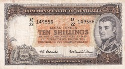 Australia, 10 Shillings, 1961/1965, VF, p33a