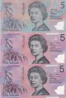 Australia, 5 Dollars, 2007/2017, UNC, p57e; p57h; pNew, (Total 3 banknotes)