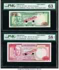 Afghanistan Bank of Afghanistan 50; 100 Afghanis ND (1967) / SH1346 Pick 43s; 44s Two Specimen PMG Choice About Uncirculated 58 EPQ; Choice Uncirculat...