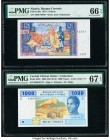 Algeria Banque Centrale d'Algerie 5 Dinars 1970 Pick 126a PMG Gem Uncirculated 66 EPQ; Central African States Cameroun 1000 Francs 2002 (ND 2015) Pick...