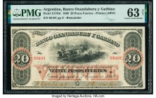 Argentina Banco Oxandaburu y Garbino 20 Pesos Fuertes 2.1.1869 Pick S1794r Remainder PMG Choice Uncirculated 63 Net. Signatures added.  HID09801242017...