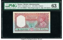 Burma Reserve Bank of India 5 Rupees ND (1938) Pick 4 Jhun5.4.1 PMG Choice Uncirculated 63. Staple holes at issue; minor rust.  HID09801242017  © 2020...