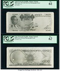 Congo Democratic Republic Banque Nationale du Congo 1000 Francs ND (1961-64) Pick Unlisted Front and Back Photographic Proofs PCGS New 61; New 62. Tea...