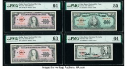 Cuba Banco Nacional de Cuba 1; 100; 1000 Peso/s (1950-1956) Pick 82a; 82b; 84; 87a Four Examples PMG About Uncirculated 55; Choice Uncirculated 63; Ch...