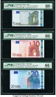 European Union Central Bank, Italy; Ireland; Germany 5; 10; 20 Euro 2002 Pick 1s; 2t; 3x PMG Gem Uncirculated 66 EPQ (2); Superb Gem Unc 68 EPQ.   HID...