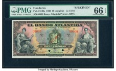 Honduras Banco Atlantida 10 Lempiras 1.3.1932 Pick S124s Specimen PMG Gem Uncirculated 66 EPQ. Cancelled with 2 punch holes.   HID09801242017  © 2020 ...