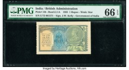India Government of India 1 Rupee 1935 Pick 14b Jhun3.2.1A PMG Gem Uncirculated 66 EPQ.   HID09801242017  © 2020 Heritage Auctions | All Rights Reserv...