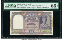 India Reserve Bank of India 10 Rupees ND (1943) Pick 24 Jhun4.6.1 PMG Gem Uncirculated 66 EPQ. Staple holes at issue.   HID09801242017  © 2020 Heritag...