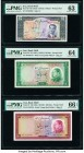 Iran Bank Melli 10 (2); 20; 50; 100 Rials ND (1953-1958) Pick 59; 66; 67; 68; 69 Five Examples PMG Choice Uncirculated 63; Choice Uncirculated 64; Gem...