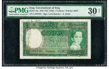 Iraq Government of Iraq 1/4 Dinar 1931 (ND 1942) Pick 16a PMG Very Fine 30 Net. Rust and annotations.   HID09801242017  © 2020 Heritage Auctions | All...