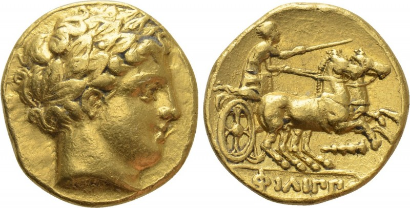 KINGS OF MACEDON. Philip II (359-336). GOLD Stater. Amphipolis.