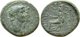 IONIA. Smyrna. Claudius, with Agrippina (41-54). Ae. Philistus and Eicadius, magistrates. 