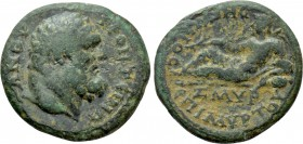 IONIA. Smyrna. Pseudo-autonomous. Time of Domitian (81-96). Ae. Frontinus, proconsul; Myrton, stephanophoros and daughter of the people and Reginus, s...