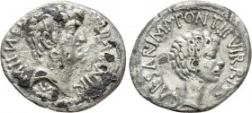 MARK ANTONY and OCTAVIAN. Fourrée denarius (41 BC). Military mint travelling with Mark Antony. 