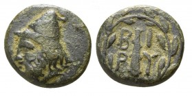 Bronze Æ>br>Troas. Birytis, c. 350-300 BC, Head of Kabeiros left, wearing pileos / Upright club, B-I P-Y across fields, all within wreath