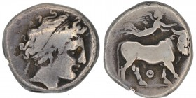 Campania, Neapolis. Circa 300-275 BC. AR Nomos (18mm, 7.04 g, 9h). Head of nymph right / Man-headed bull walking right; above, Nike flying right, plac...