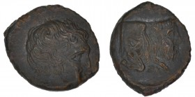 Sicily, Agyrion. Circa 420-405 BC. Æ Hemilitron (19mm, 4.90g, 9h). Head of young male (river god Chrysas?) right / Forepart of Acheloös Palagkaios as ...