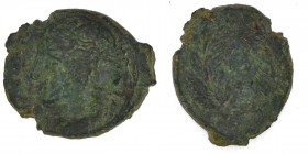 Sicily, Himera. Ca. 415-409 BC. Æ hemilitron (17mm, 3.53 g, 9h). Head of nymph left, hair bound in ampyx and sphendone; before, six pellets / Six pell...