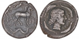 SICILY. Syracuse. Second Democracy. 466-406 BC. AR tetradrachm (24mm, 17.09g, 6h). Struck circa 460-440 BC. Charioteer walking slow quadriga right, ho...