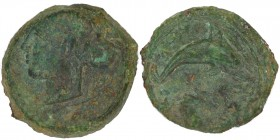 Sicily, Dionysios I (406-367), Hemilitron, Syracuse, After 410 BC; AE (3.32g, 15mm, 7h); Head of nymph Arethusa left, wearing hair-band at r., two oli...