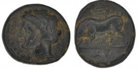 Sicily, Syracuse. Agathokles. 317-289 BC. Æ Trias(?) (16mm, 3.69g, 9h). Struck 289-287/5 BC. Head of Arethusa left; bow behind / Bull butting left; tr...