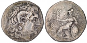 Thrace, Byzantion Circa 275-260 BC. AR Tetradrachm (25mm, 16.19, 3h). Struck in the name and types of Lysimachos. Diademed head of the deified Alexand...