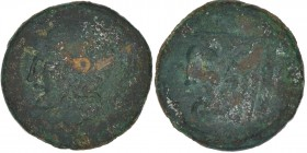 Akarnania, Federal Coinage (Akarnanian Confederacy). 3rd century BC. Æ (21mm, 5.84g, 11h). Leukas mint. Helmeted head of Athena left / Head of river-g...