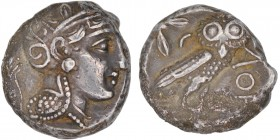 Attica, Athens. Mid-late 4th century BC. AR Tetradrachm (20mm, 15.97g, 10h). Helmeted head of Athena right / Owl standing right, head facing; olive sp...